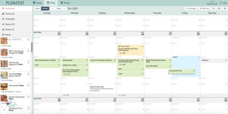 screenshot of plan to eat showing weekly family meal plan