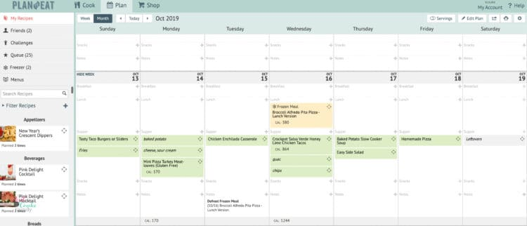 Screenshot of plan to eat showing meal planning on a budget