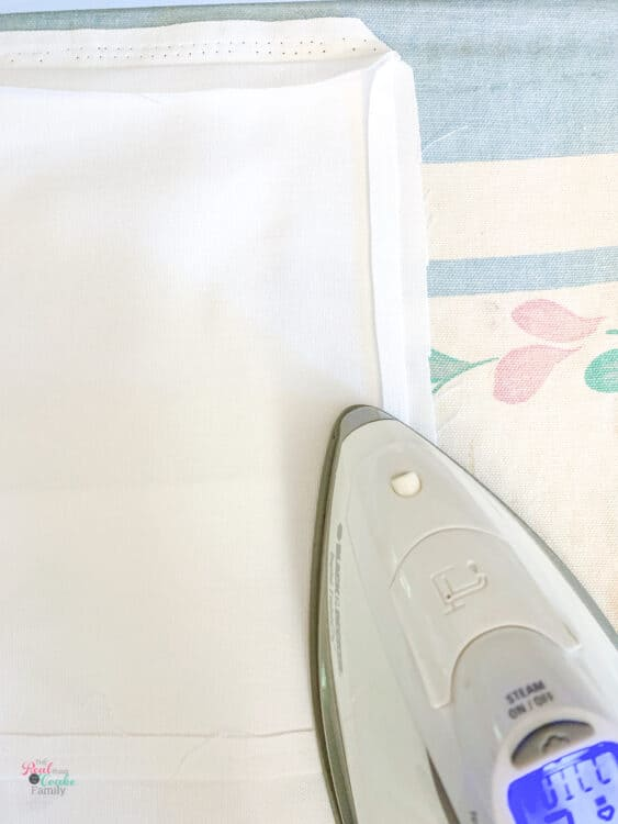 ironing seam before turning pillow covers