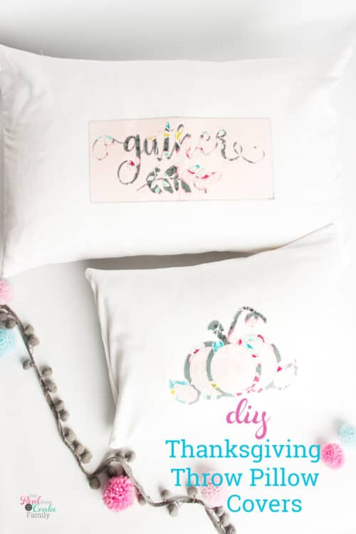 2 pink and grey thanksgiving pillows