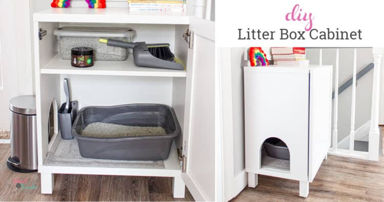 showing DIY hidden litter box