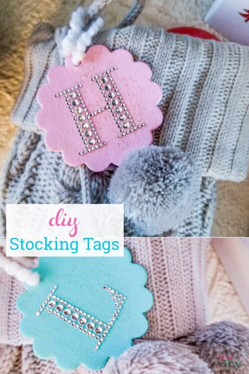 two stocking tags on stockings