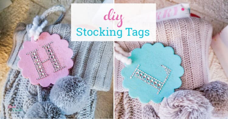 DIY stocking tags attached to stockings