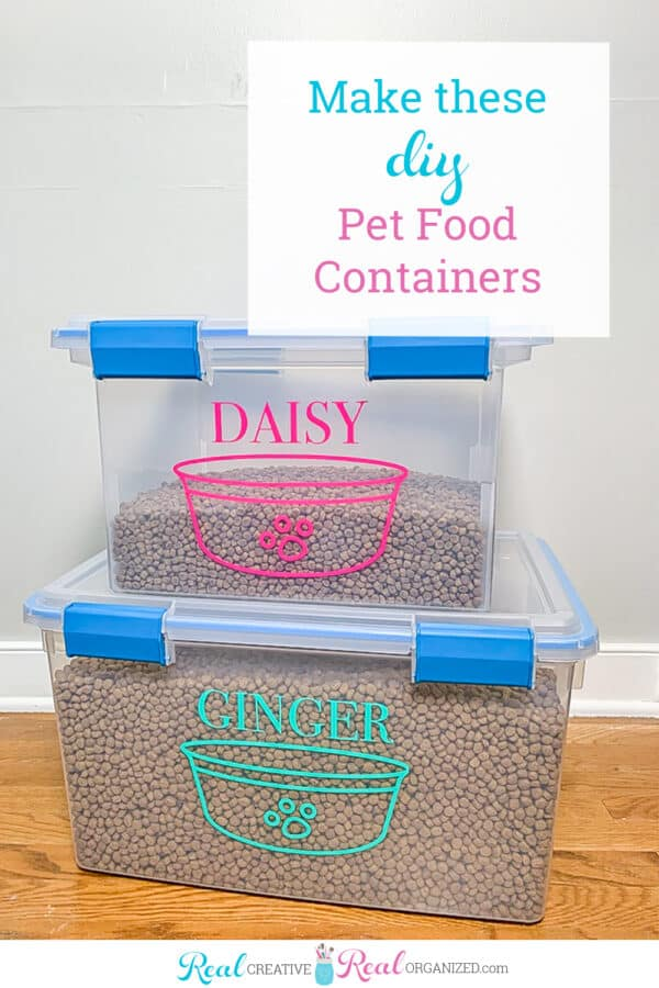 stackable pet food storage containers filled with food