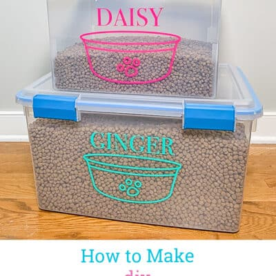 DIY Pet Food Storage Containers stacked on top of each other