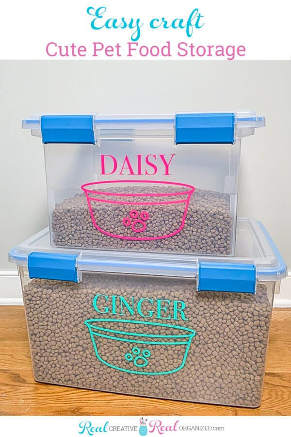 DIY pet food storage containers filled with dog and cat food