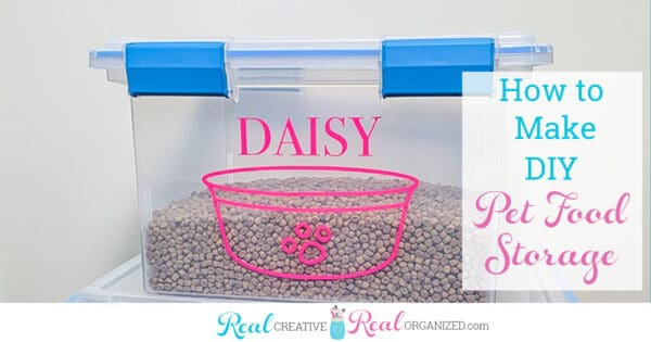 personalized pet food storage container filled with food