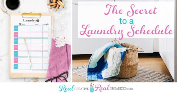 Laundry printable on clipboard and laundry basket with laundry spilling out
